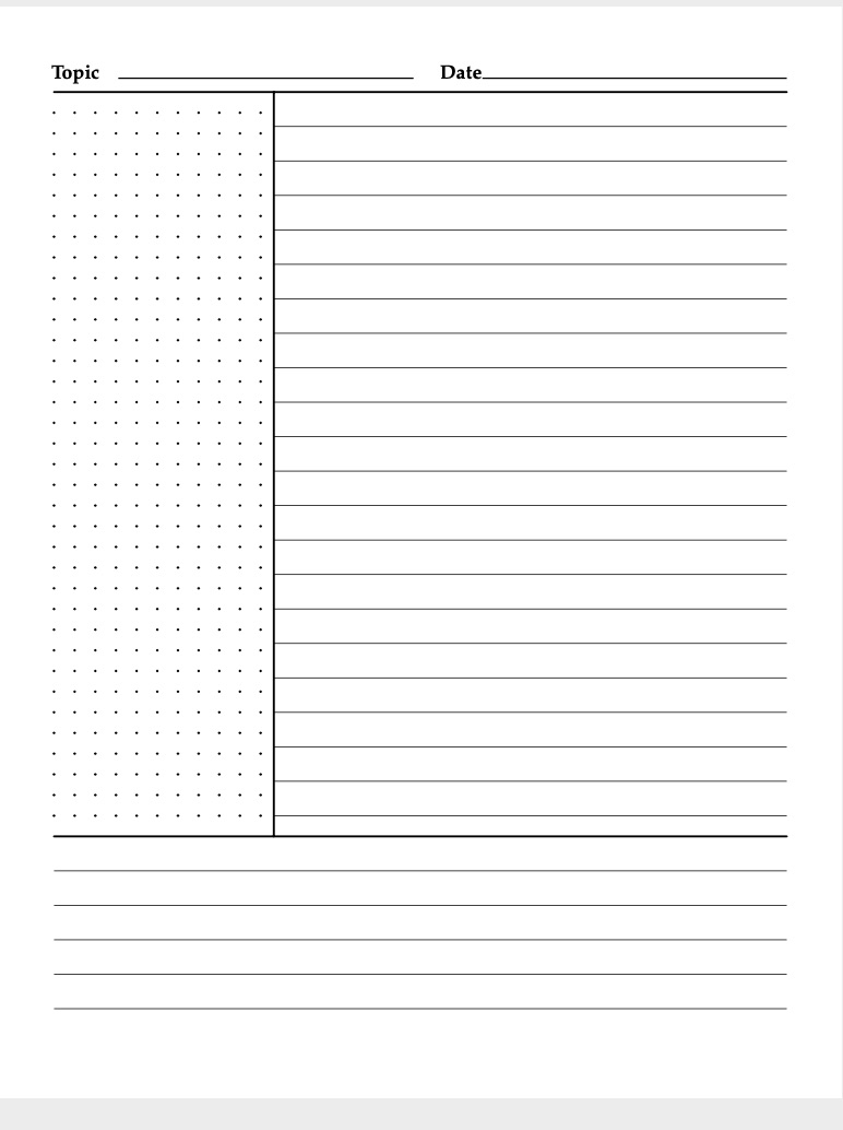 A Cornell style template for taking notes