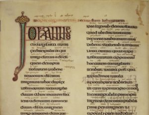 Annotating a book in the Middle ages; this detail image from the Lindisfarne Gospels manuscript showing a scribes Old English glosses between lines of Latin