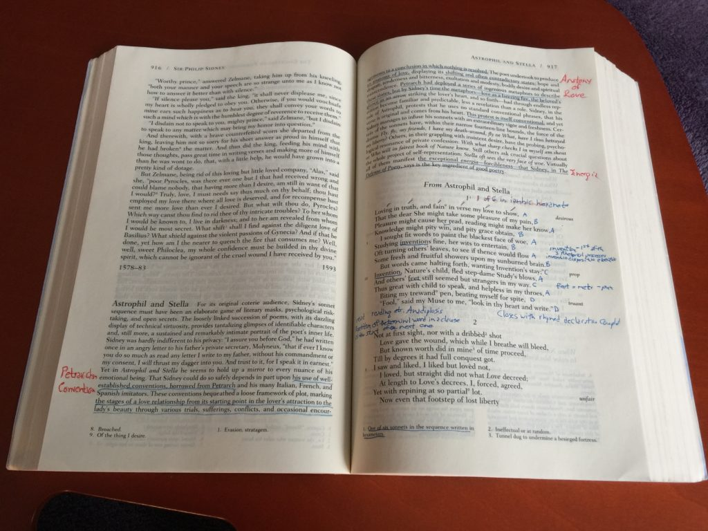 Annotating a book image showing a textbook page and an annotated poem