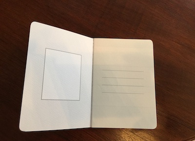 Inside the front cover of the BaronFig dateless pocket planner showing a field for a book plate or sticker, and a title page area with room for a name and date, and email address