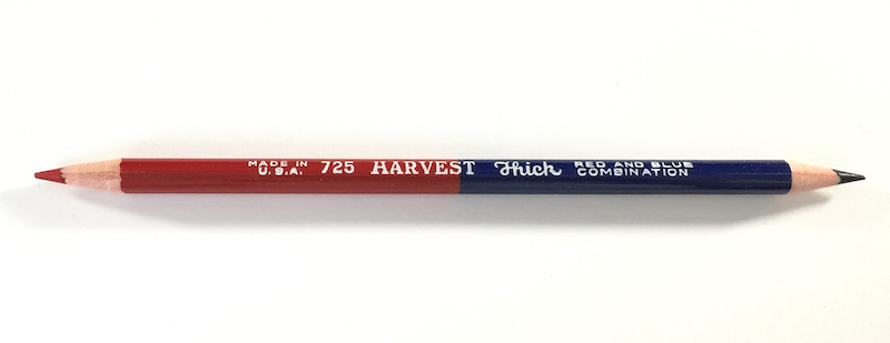 Musgrave Harvest 725 Thick vermillion and prussian blue bicolo pencil